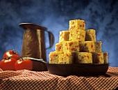 Tomato Corn Bread Squares