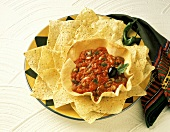 Salsa in Tostada Bowl with Corn Chips