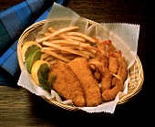 Fried Shrimp and Fish with Fries in a Basket