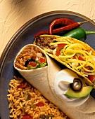 Taco and Burrito with Spanish Rice