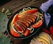 Sliced Steak with Vegetables for Fajitas