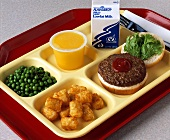 School Lunch on Tray with Burger and Tator Tots
