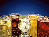 An Assortment of Colorful Soft Drinks; Soda