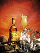 Cuervo Bottle with Margarita on Ice Block