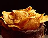 Potato Chips in a Burlap Sack
