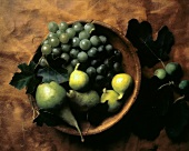 Green Pears; Figs and Grapes in a Wood Bowl