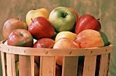 Assorted Varieties of Apples in Basket