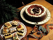 Chocolate Cake with Whipped Cream and Cherries; Bar Cookies