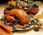Whole Roast Turkey with Gravy Boat; Cranberry Sauce