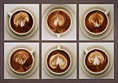 Six Cups of Cafe Latte with Decorative Swirls