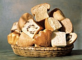 Assorted Loaves of Bread in a Basket