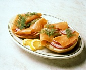 Lox and Red Onion on a Bagel