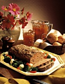 Whole Meatloaf with Rolls; Iced Tea