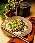 Stir-fried Vegetables and Peanuts on White Rice