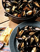 Steamed Mussels in Cast Iron Pot; Bowl