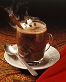 Steaming Hot Chocolate with Whipped Cream; Cinnamon Stick