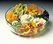 Raw Vegetables and Dip in Glass Bowl
