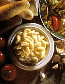 Macaroni and Cheese with Bread and Salad