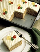 Spice Cake in Baking Pan and on Plate