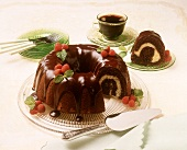 Chocolate Bundt cake with vanilla swirl and chocolate glaze