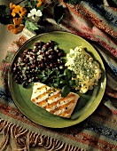 Grilled Halibut with Black Beans and Corn Pudding