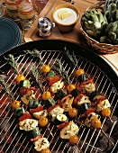 Grilled Vegetables with Lemon Mayonnaise on Rosemary Sticks