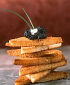 Toast Points Topped with Caviar