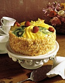 Round Layer Cake with Fresh Fruit; Toasted Coconut