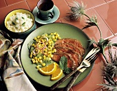 Sliced Roast Beef with Corn Salad; White Rice