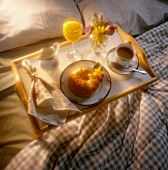 Breakfast in Bed; Croissant and Coffee; Tray