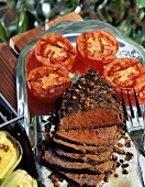 Grilled London Broil Sliced; Tomatoes