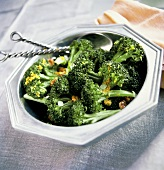 Bowl of Broccoli with Walnuts; Scallions