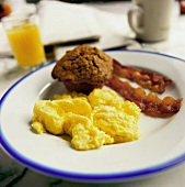 Scrambled Eggs with Bacon; Bran Muffin