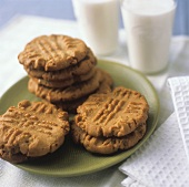 Homemade Peanut Butter Cookies; Milk