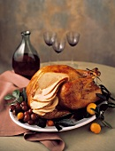 Whole Turkey on Platter; Partially Carved