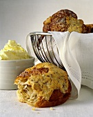 Muffins in a Wire Basket and Butter