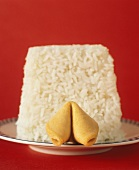 White Rice on a Plate with a Fortune Cookie