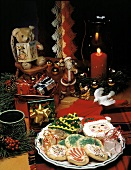 Christams Cookies on a Plate; Christmas Decorations