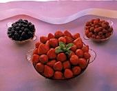 Assorted Berries in Glass Bowls; Strawberries; Raspberries; Blackberries