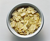 Almond Flakes in a White Bowl