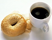Sesame Seed Bagel with a Cup of Coffee