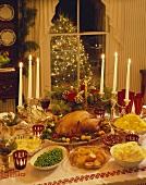 Christmas Dinner on a Table; Christmas Tree