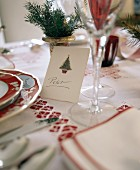 Place Card at a Christmas Place Setting