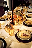 Thanksgiving Table Setting with Gourds