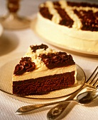 A Slice of a Chocolate Torte with Vanilla and Chocolate Frosting