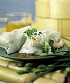 Asian Wrap; Noodles Shrimp and Lettuce in Rice Paper