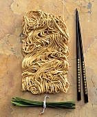 Noodles with Chives and Chop Sticks