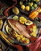 Red Snapper on a Platter with fruit and vegetables