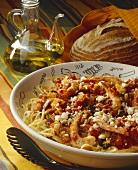 Spaghetti with Shrimp Tomato Sauce and Feta Cheese;Bread