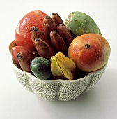 Assorted Tropical Fruit in a Bowl